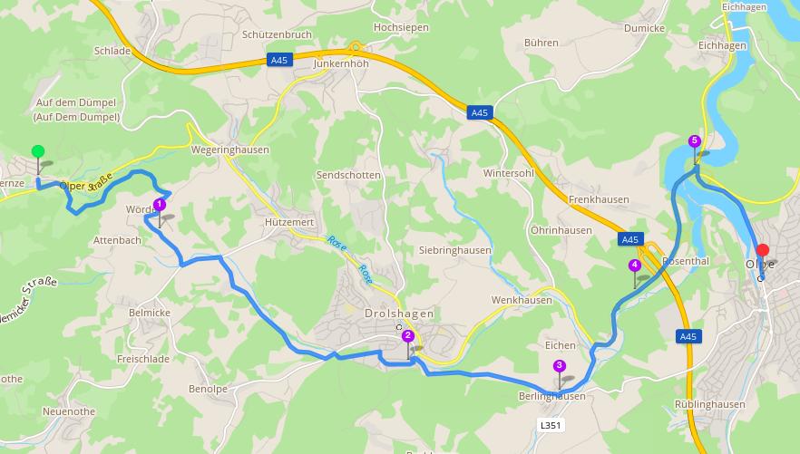 Die Wanderroute - insgesamt 16 km :D (Bild: skobbler/OpenStreetMap)