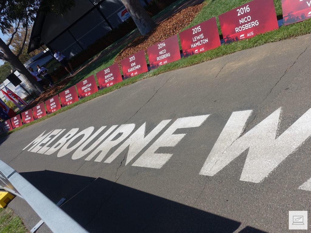 Melbourne Walk; aufgereiht die letzte Sieger des Australian GP