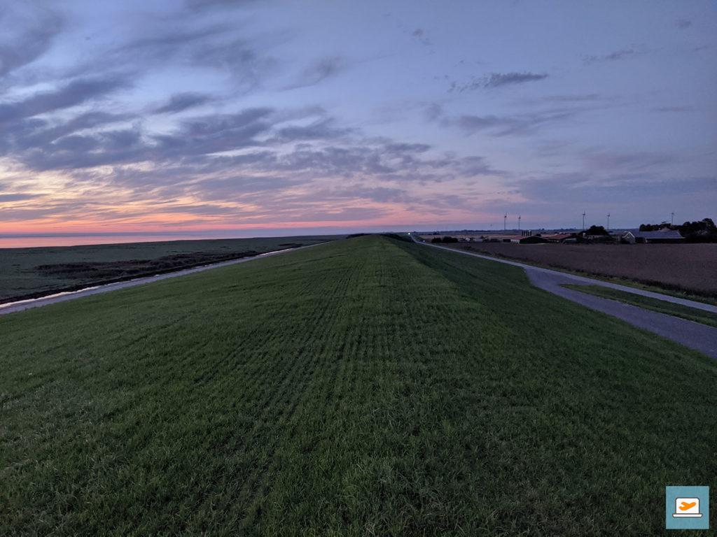 Der Damm - ebenfalls Weidefläche - nachdem alle Sonnenuntergang-Interessierten weg waren