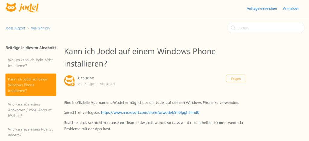 In den Jodel FAQ wurde für Windows Phone-Nutzer auf Wodel verwiesen...